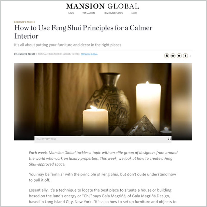 Gala Magriña Design featured in Mansion Global Feng Shui