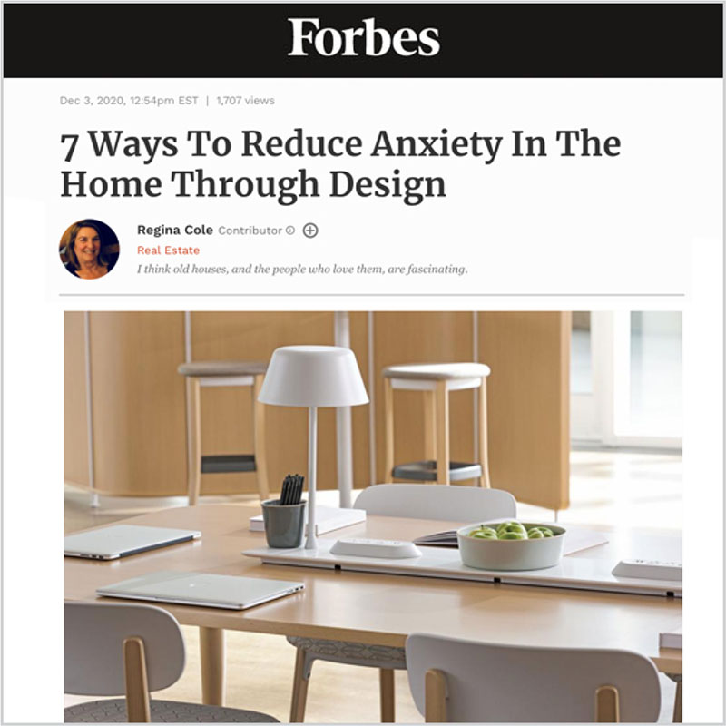 Gala Magriña Design featured in Forbes Reduce Anxiety Through Design