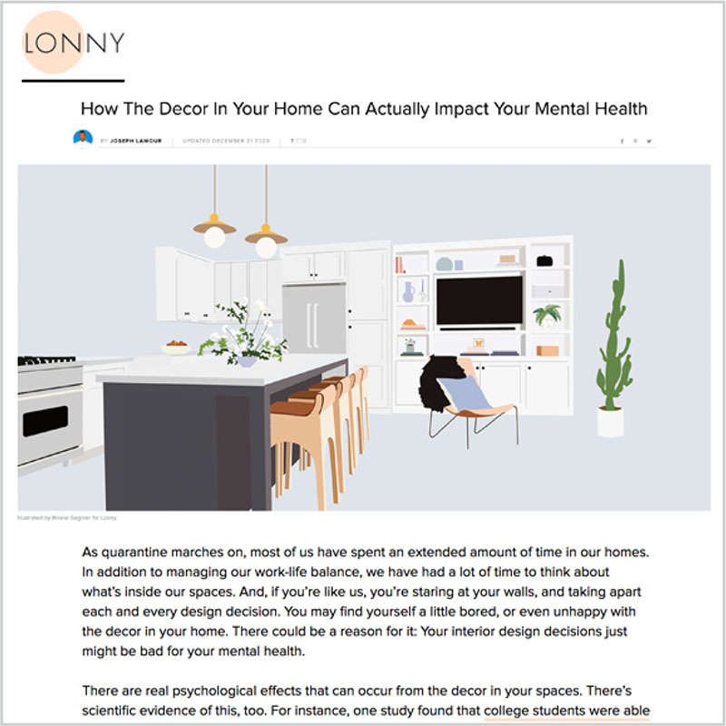 Gala Magriña Design featured in Lonny Decor Mental Health