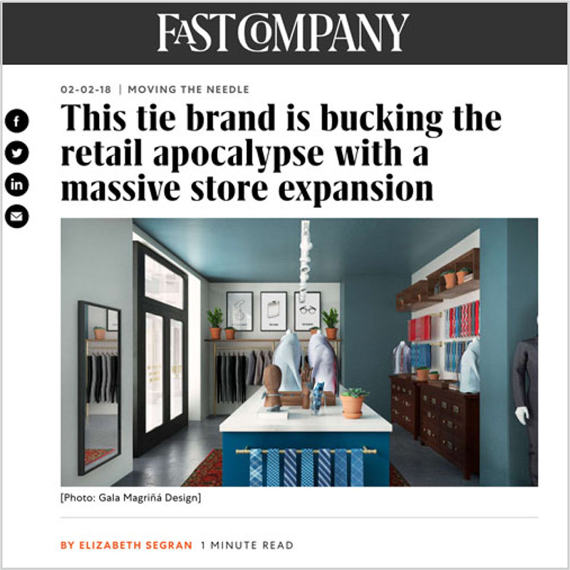 Gala Magriña Design featured in Fast Company Tie Bar Store Design