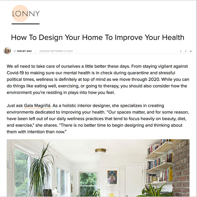 Gala Magriña Design featured in Lonny Design to Improve Health