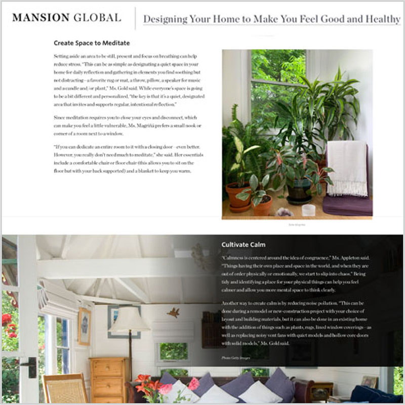 Gala Magriña Design featured in Mansion Global Design to Feel Healthy