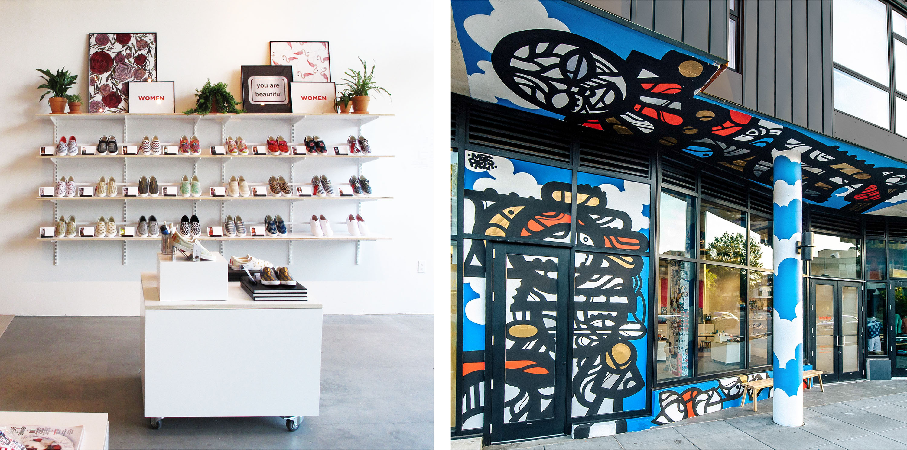 Shoe store interior and retail design for Bucketfeet
