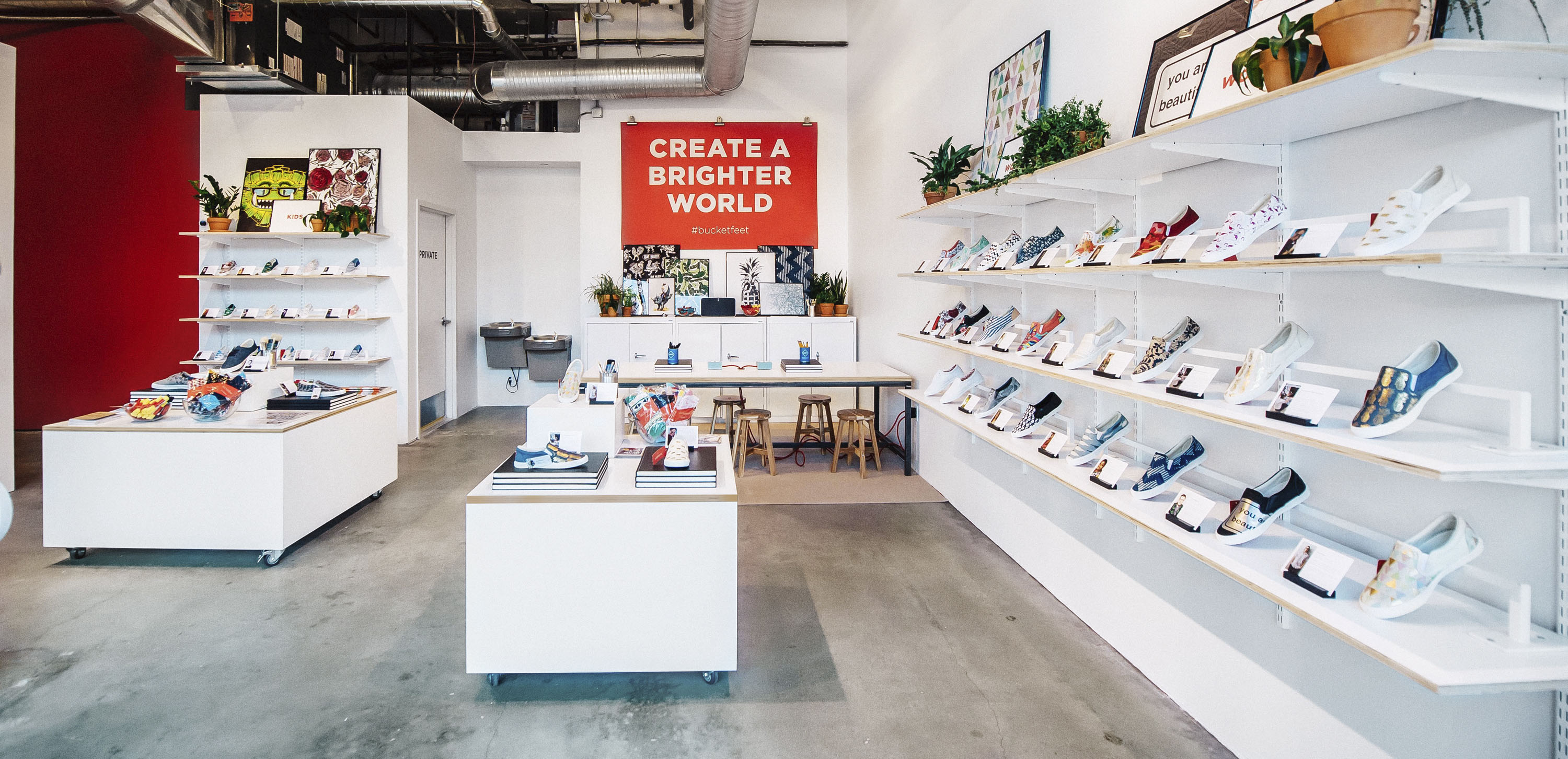 Custom artwork on Bucketfeet shoe store | Fixture Design by Gala Magriña Design
