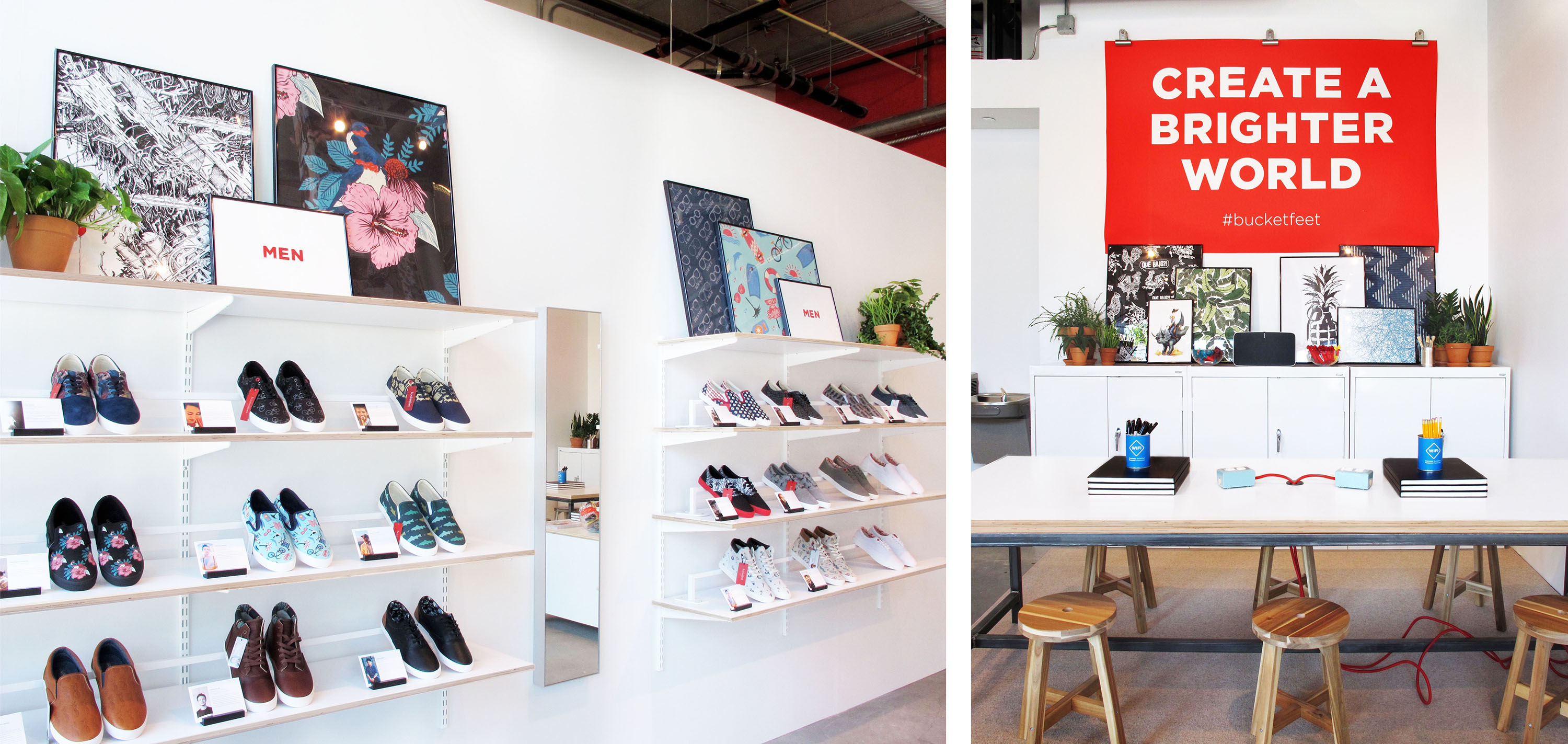 Creative visual merchandising and Custom Fixtures for Bucketfeet Shoes, by Gala Magriña Design