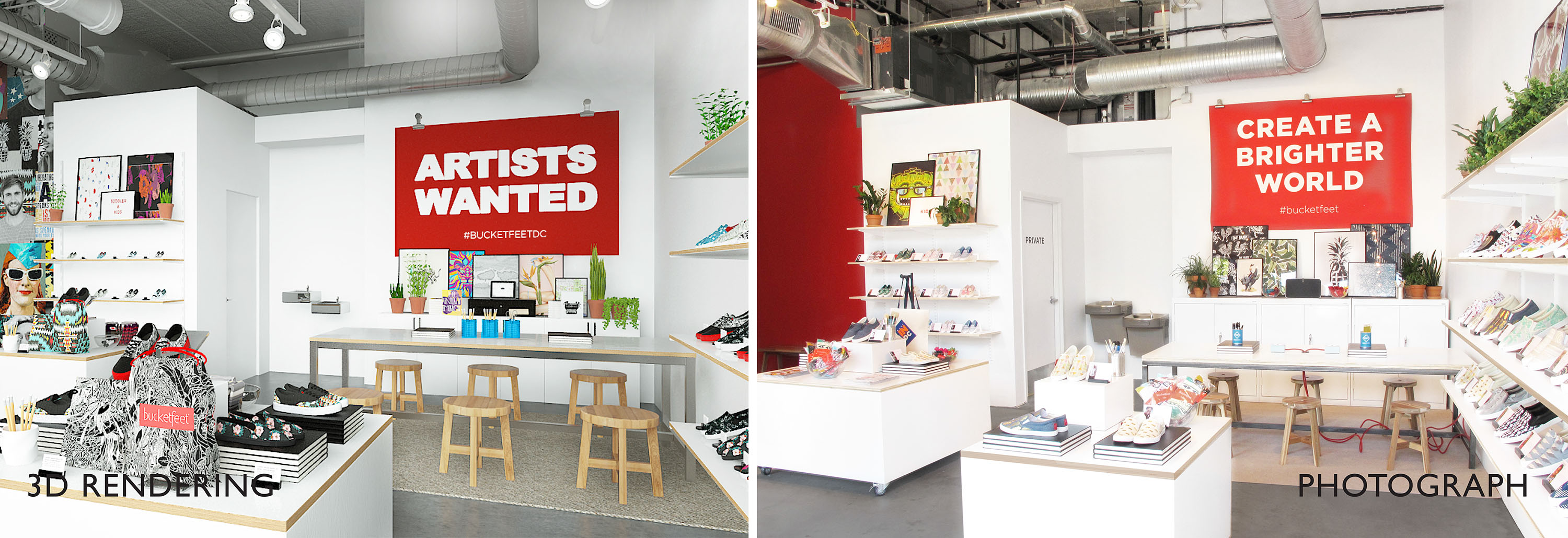 Before and after rendering | Profesional retail design, accurate rendering execution and visual merchandising by Gala Magriña Design